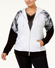 Material Girl Plus Size Palm-Print Zip Hoodie Black/White