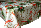 Assorted Sizes Polyester Fabric Tablecloths Christmas Holly Ribbon Multi-Color  for sale  Shipping to Canada