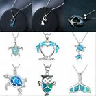 Fashion 925 Silver Jewelry Animal Blue Fire Opal Charm Pendant Necklace Chain image