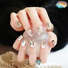 Reflective Mirror Light Soft Pink Metal Plating False French Acrylic Nail Tips