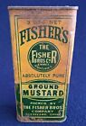 Vintage Fisher's Ground Mustard Tin - The Fisher Bros Co. Grocer Cleveland, OH