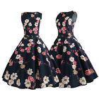 Women Vintage Pinup Swing Evening Party Rockabilly Casual Party Dress With Belt