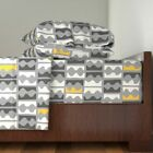 Retro 50S Dancers Grey Yellow Mid 100% Cotton Sateen Sheet Set by Roostery