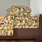 Mid Century Mcm Birds Tropical Yellow 100% Cotton Sateen Sheet Set by Roostery