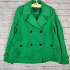 Women's Lands End Spring Fall Jacket Sz Medium 10-12 Solid Bright Green Lined
