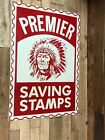 Wow Tin Painted Collectable Primier Saving Stamp Sign