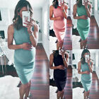 Women's Mama Ruched Maternity Bodycon Dress Causual Sleeveless Wrap Slim Dresses