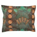 Beer Deco Hops And Barley Black Beer Art Deco Hops Pillow Sham by Roostery