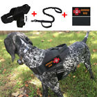Tactical Military Training Dog Vest Patrol Harness w Leash & 2 Service Dog Patch