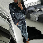 WOMENS LADIES VELVET VELOUR CRUSHED 2PCS JOGGING TOP LOUNGEWEAR TRACKSUIT SET  <br/> We will send you 1 size larger than the size you choose