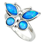 Natural Blue Australian Opal (lab) Silver Butterfly Ring Size 8 Thejaipurshop