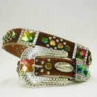 XS S or M Brown HAIR LEATHER RAINBOW CONCHO WESTERN BUCKLE COWBOY GIRL BELT