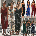 UK Ladies Summer Jumpsuit Womens White Floral Split Romper 6 8 10 12 14 16 18
