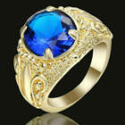 New Fashion jewelry (Blue)  Sapphire yellow Rhodium Plated wedding rings size 9
