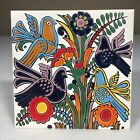 """Vintage Greek Ceramic Tile Birds And Flowers Hand Made By Nassos Rodos 6""""x 6"""""""
