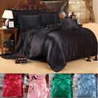 4 PCS Silk Blend Bedding Sets Sheets Duvet Cover Pillowcase Sheet Twin King Size image