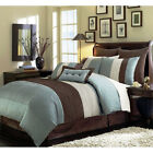 8-Piece Luxury Pintuck Pleated Stripe Off-White, Blue, and Brown Comforter Set image