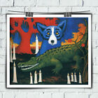 HD Print George Rodrigue Blue Dog art of painting on canvas and crocodile 20x24