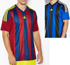 Внешний вид - Mens Adidas Striped 15 Soccer Jersey Burgundy / Navy / Yellow Team Apparel