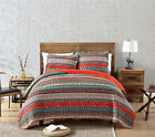 3-Piece Orange Boho Chic Floral Bohemian Pre-Washed 100% Cotton Quilt Set image