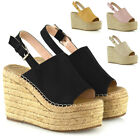 Womens Wedge Heel Sandals High Heel Platform Ladies Peeptoe Espadrille Shoes