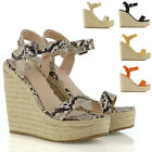 Womens High Wedge Heel Platform Sandals Ladies Espadrille Ankle Strap Shoes Size