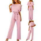 Women's Lady Summer Short Sleeves Buttoned Overall Jumpsuit Solid Work Playsuits