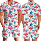 CA Mens One Piece Floral 3D Print Rompers Casual Short Pants Jumpsuit Overalls