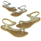Womens Flat Strappy Sandals Ladies Slingback Crystal Diamante Holiday Shoes Size
