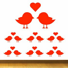 Love Bird Shapes Vinyl Wall Stickers 10 Pack In 5 Sizes + 15 Colours Wall Art