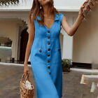 Women Summer Fashion Solid Dresses Casual Sleeveless V-Neck Pockets Long Dress