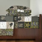 """Camo Army 6"""" Army Faux Quilt Star Text 100% Cotton Sateen Sheet Set by Roostery"""