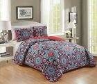 3 Piece Embroidery Reversible Mandala Floral Bedspread Quilt Set Queen King  image