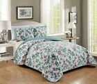 3 Piece Embroidery Reversible White Green Floral Bedspread Quilt Set Queen King  image