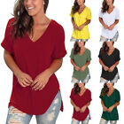Summer Women's Ladies V Neck T Shirt High Low Side  Casual Tunic Tops New
