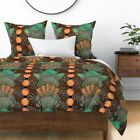 Beer Beer Art Deco Hops Bottle Caps Teal Copper Sateen Duvet Cover by Roostery
