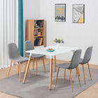 Retro Dining Table and 4 Chairs or 2/4 Fabric Chairs Set with Metal Wooden Legs