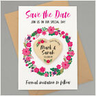 Save The Date Magnets PERSONALISED Floral Wreath Wooden Heart Wedding Invitation
