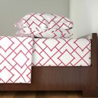 Pink Bamboo Bamboo Geometric 100% Cotton Sateen Sheet Set by Roostery image