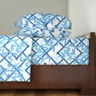 Bamboo Nantes Bamboo Trellis In Blue 100% Cotton Sateen Sheet Set by Roostery image