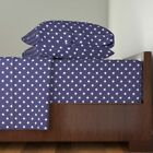 Patriotic Patriotic American Flag Blue 100% Cotton Sateen Sheet Set by Roostery image