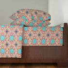 Turquoise Renaissance Turkish Persian 100% Cotton Sateen Sheet Set by Roostery image
