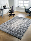 Modern Very Soft Velvet 3D Cube Thick Quality Shaggy Rug in Natural Grey Carpet