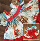 US Vintage Toddler Kids Girls Christmas Flared Party Santa Swing Dress Clothes