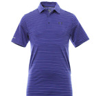 Under Armour Mens Performance Polo Tshirt Striped Blue Short Sleeved UK Large