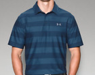 Under Armour Mens Performance Polo Tshirt Blue Pattern Short Sleeved UK Large