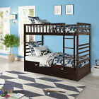 Merax Wood Twin over Twin Bunk Bed Kids Wooden Bunk Beds with Trundle and Ladder