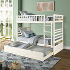 Merax Kids Bunk Beds Twin over Twin Wooden Bunk Bed with Trundle and Ladder