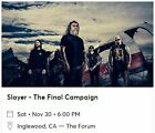 2 TICKETS FOR SLAYER AT THE FORUM (INGLEWOOD) ON 11/30/19