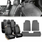 PU Leather Integrated Seat Belt Seat Covers Gray Floor Mats Combo For Auto SUV $68.54 USD on eBay